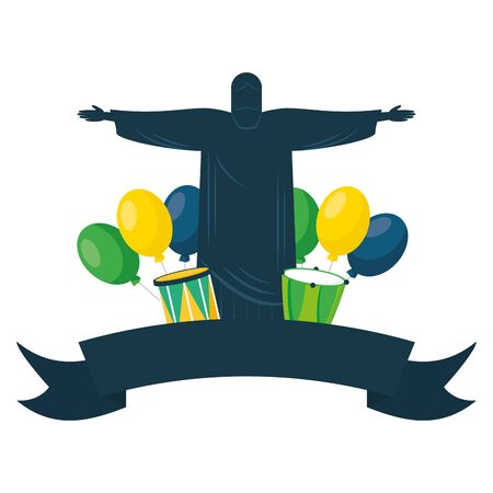 statue of christ redeemer balloons drums brazil carnival festivalvector illustration
