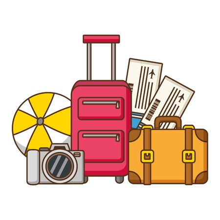 vacations bag suitcase air tickets vector illustration 写真素材 - 130184334