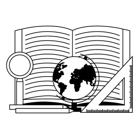 Livre carte règle crayon et loupe retour à l'école vector illustration Vecteurs