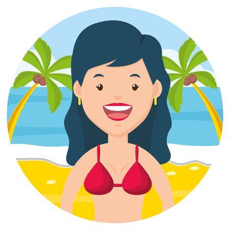 summer time woman in red bikini vector illustration