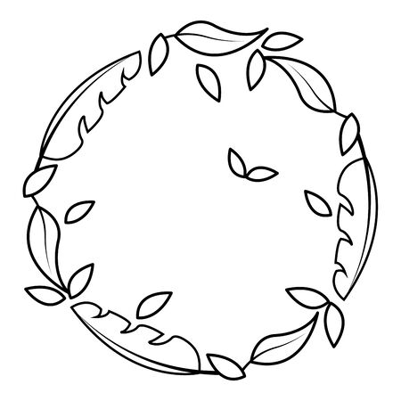 wreath leaves foliage natural white background decoration vector illustration  イラスト・ベクター素材