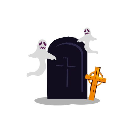 halloween ghosts with tomb and cross vector illustration design Illustration
