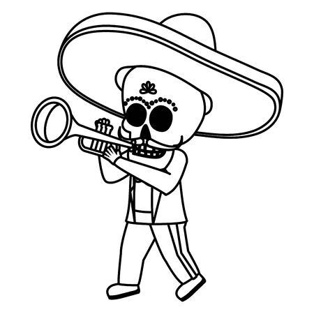 mexican skull mariachi playing trumpet vector illustration design
