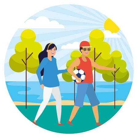 couple with soccer ball in the park vector illustration