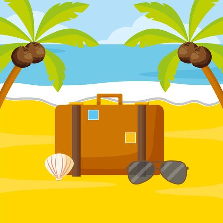 summer time holiday beach suitcase sunglasses palm shell vector illustration Ilustracja