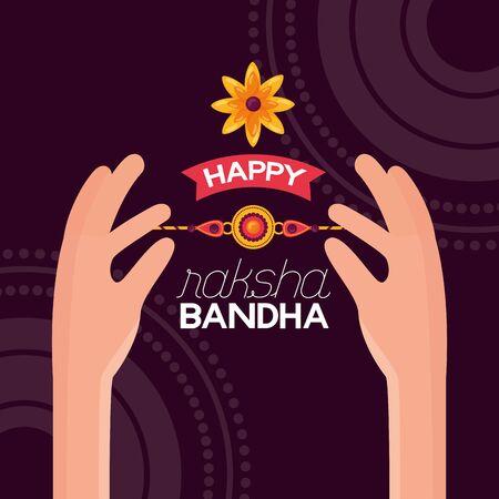 happy raksha bandhan hands holding rakhi vector illustration