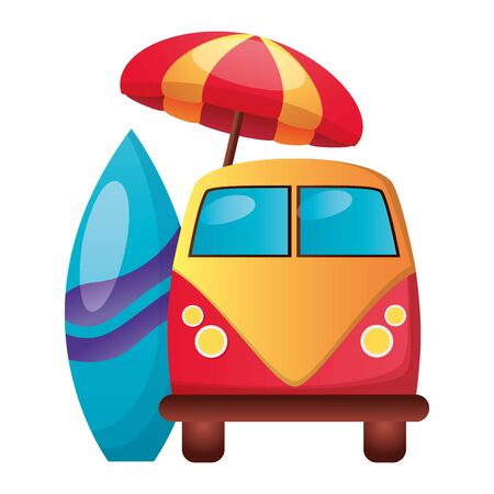 summer time holiday van car umbrella surfboard  vector illustration