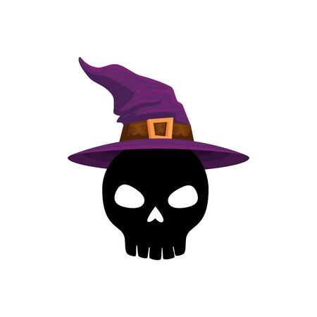 halloween skull with hat of witch vector illustration design