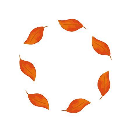 frame circular of autumn leafs vector illustration design