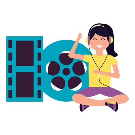 woman with headphones and filmstrip vector illustration