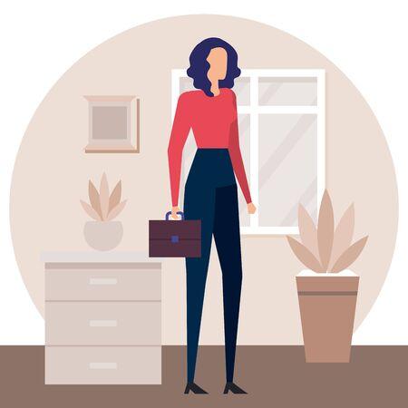 businesswoman worker in the house corridor vector illustration design Illustration