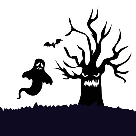 haunted dry tree with ghost isolated icon vector illustration design