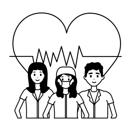 medical women and man characters professional vector illustration Ilustração