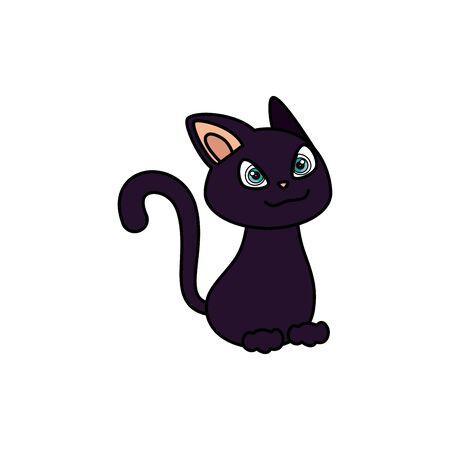 Gato animal felino de halloween, diseño de ilustraciones vectoriales Ilustración de vector