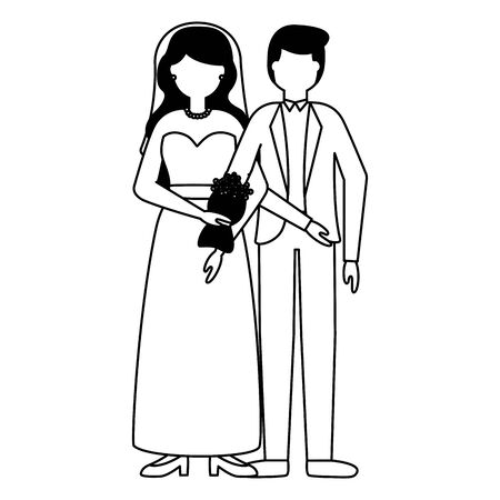 flat design wedding people groom and bride vector illustration