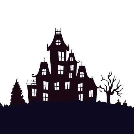 haunted castle halloween isolated icon vector illustration design