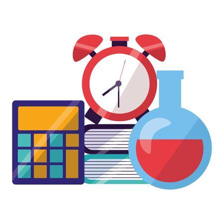 calculator chemistry flask clock books back to school vector illustration