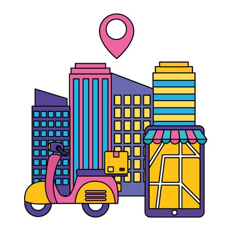 scooter smartphone city destination fast delivery business vector illustration