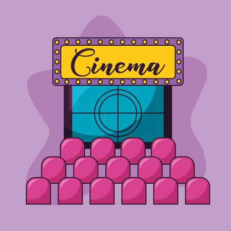 auditorium seats and billboard cinema movie vector illustration