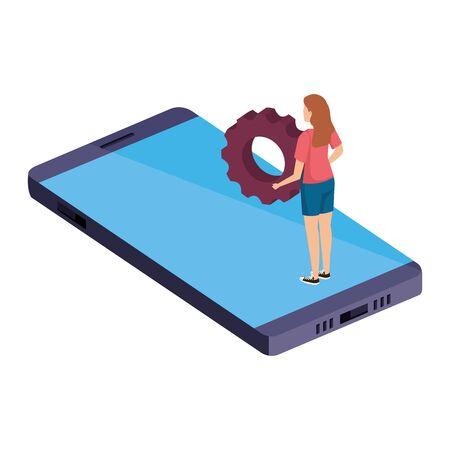 young woman lifting gear in smartphone vector illustration design Ilustração