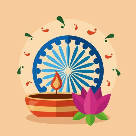 happy independence day india ashoka wheel candle flower vector illustration Ilustração
