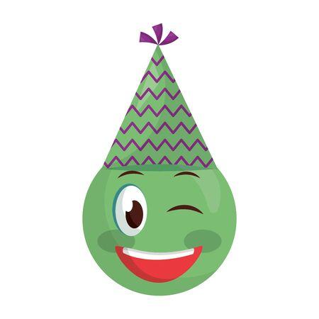 smiley emoji party hat celebration vector illustration