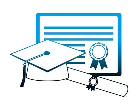 graduation hat certificate and scroll diploma vector illustration Ilustração