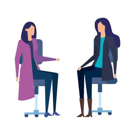 elegant businesswomen workers in office chairs vector illustration design