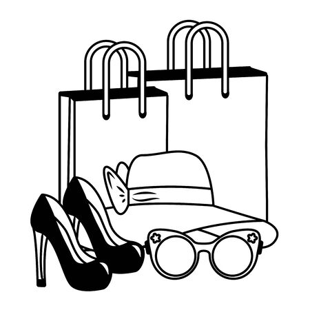 pop art high heel shoes hat eyeglasses shopping bags vector illustration Stockfoto - 130189645