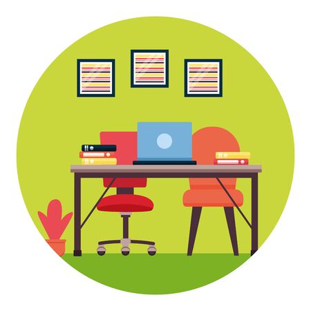 desk chairs laptop books plant pictures workplace office furniture vector illustration Illustration