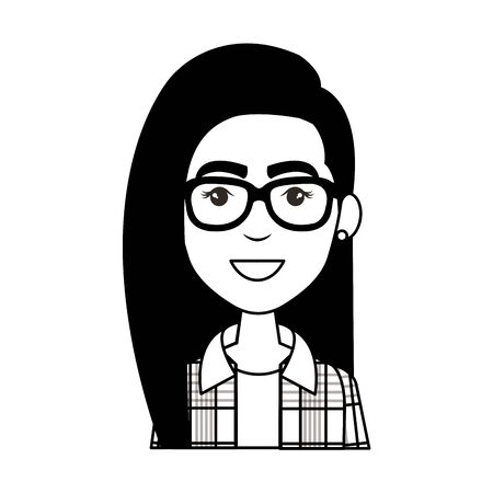 young woman with eyeglasses urban style character vector illustration design