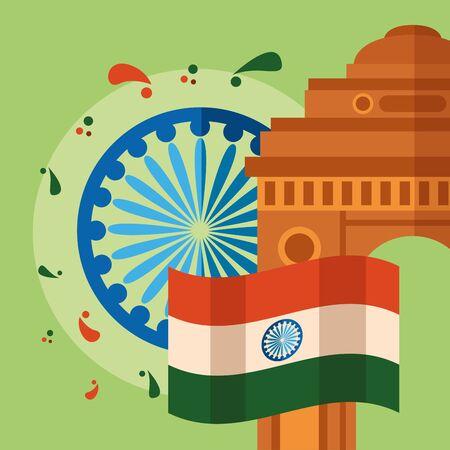 happy independence day india landmark temple flag wheel vector illustration