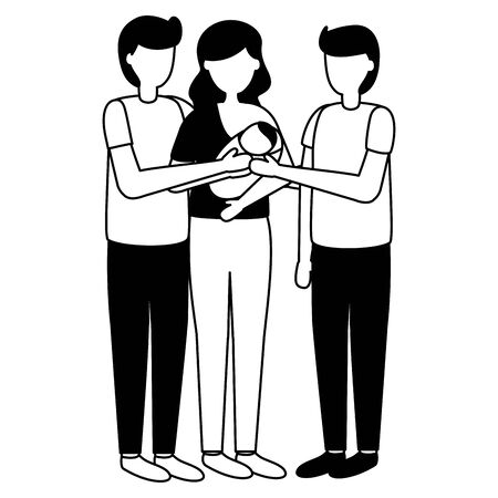 parents with baby and man pregnancy and maternity scene flat vector illustration