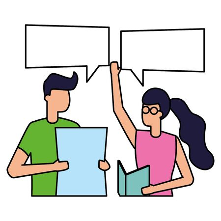 man and woman with documents talk bubble vector illustration Illustration