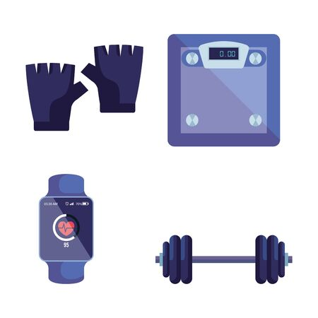 set of gloves with weighing machine and smartwatch with weight over white background, vector illustration Ilustração