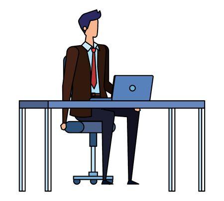 elegant businessman worker in the office scene vector illustration design