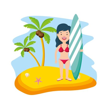 woman in bikini with surfboard beach vacations summer time vector illustration