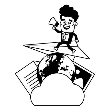 businessman marketing cloud computing world send email vector illustration Ilustração