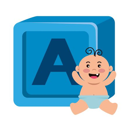 alphabet block toy with baby boy vector illustration design