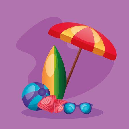 summer time holiday beachball surfboard sunglasses umbrella shells vector illustration