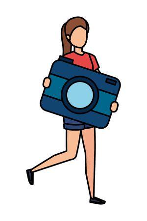 young woman lifting camera photographic character vector illustration design Ilustração