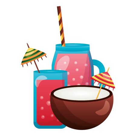 summer time holiday juice coconut cocktail vector illustration