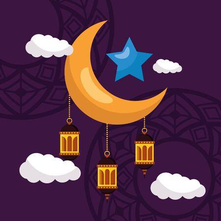 moon lantern star celebration eid mubarak vector illustration