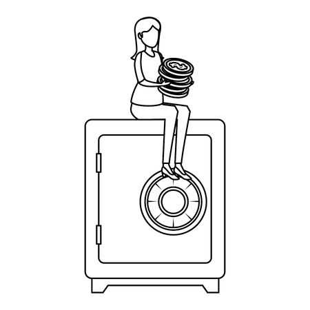 young woman with coins seated in safe box vector illustration design Ilustração
