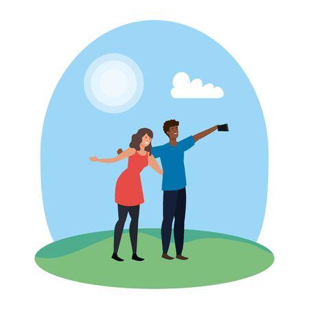 interracial lovers couple taking a selfie in the camp vector illustration design Ilustração
