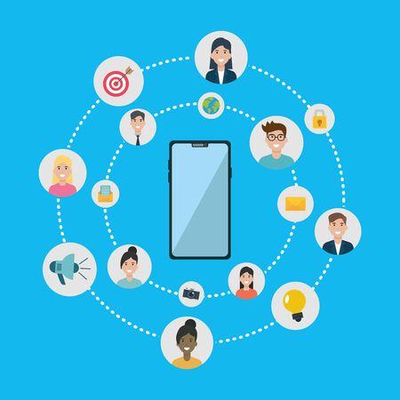people connection smartphone internet social network media vector illustration