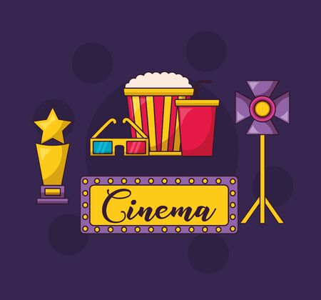 cinema movie light award food glasses vector illustration