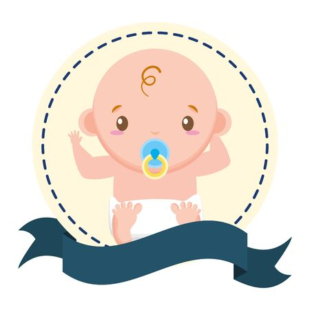 boy with pacifier sticker on white background baby shower vector illustration