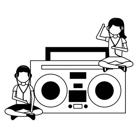 girl and boy with earphones sitting on radio listening music vector illustration