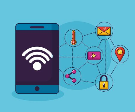 smartphone internet things wifi free connection vector illustration